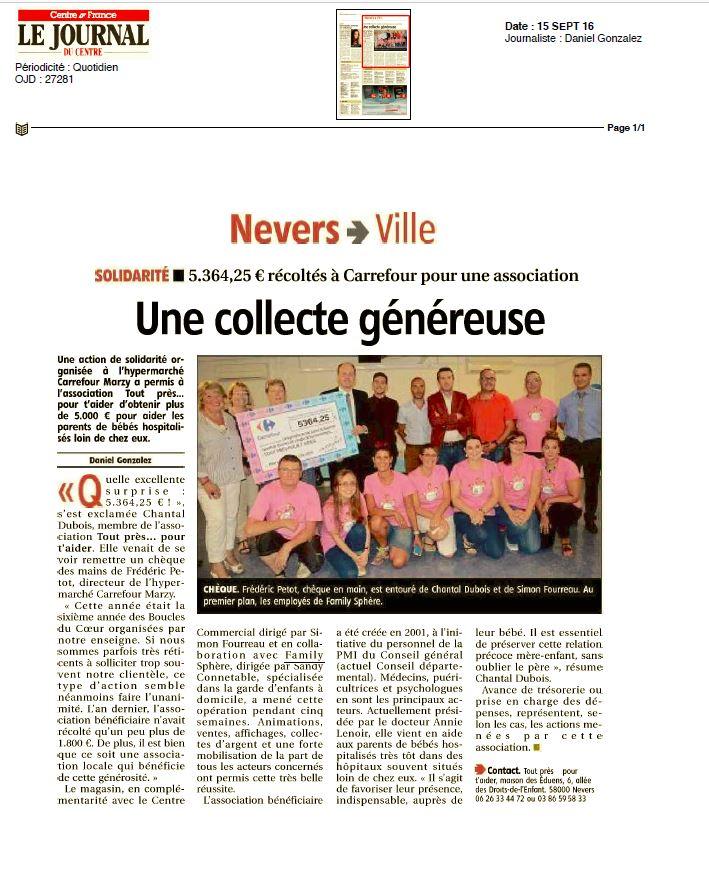 Family Sphere Nevers : «Une collecte généreuse pour une action de solidarité»
