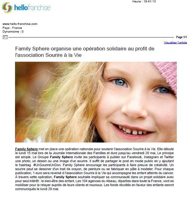 Sujet : Family Sphere organise une opération solidaire au profit de l'association […]