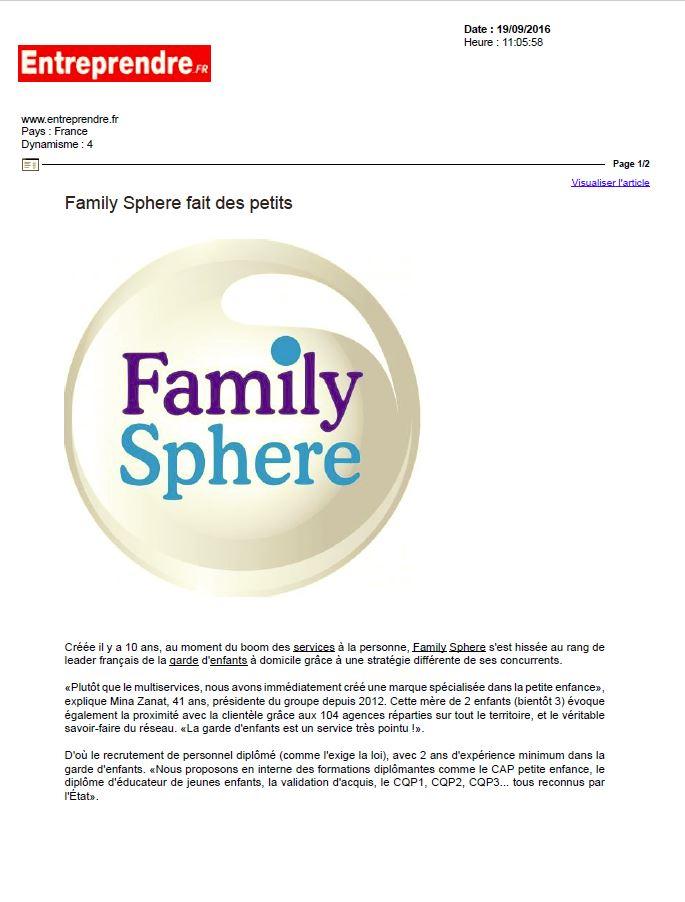 Sujet : «Family Sphere fait des petits»