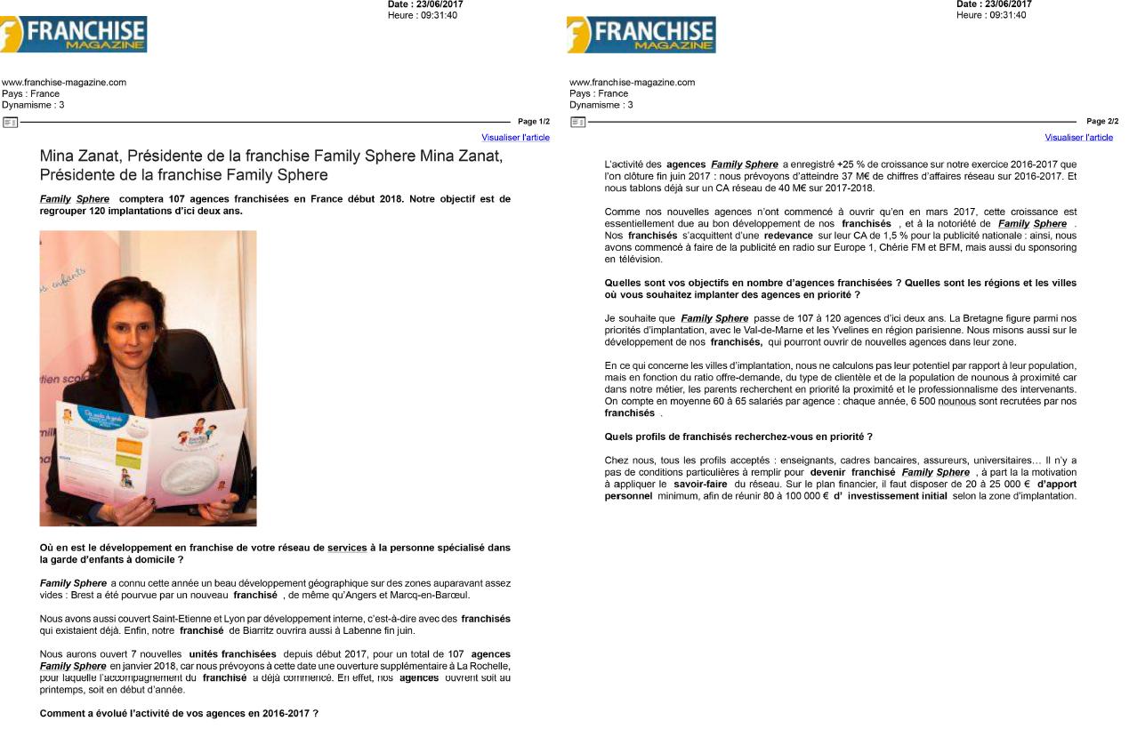 Sujet : Interview de Minat Zanat, Présidente de la franchise Family Sphere.
