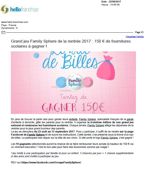 Sujet : Grand jeu Family Sphere de la rentrée 2017 : 150 […]