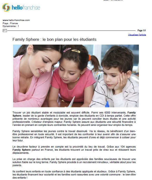 Sujet : Family Sphere : le bon plan pour les étudiants