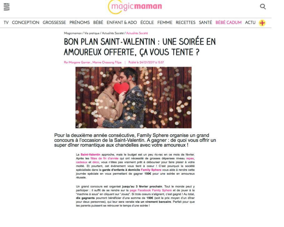 Sujet : Jeu concours : gagnez votre soirée baby-sitting pour la Saint-Valentin