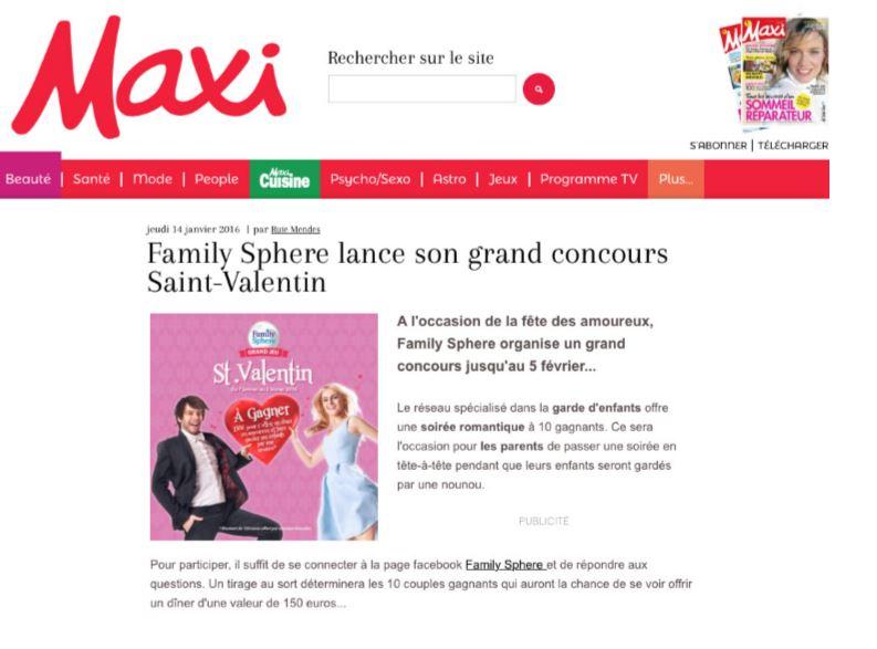 Sujet : Family Sphere lance son grand concours Saint-Valentin