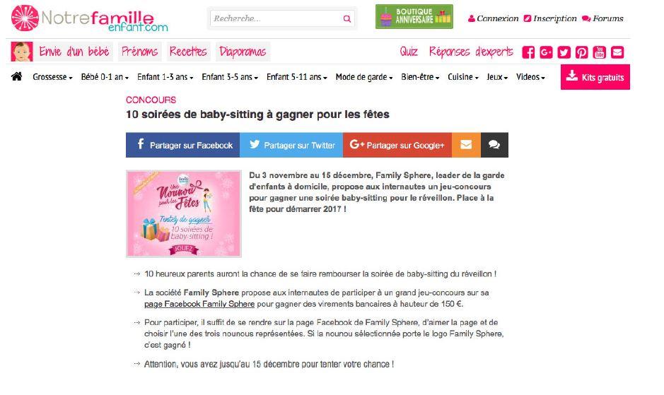 Jeu-concours : Family Sphere fait gagner 10 soirées de baby-sitting pour les […]