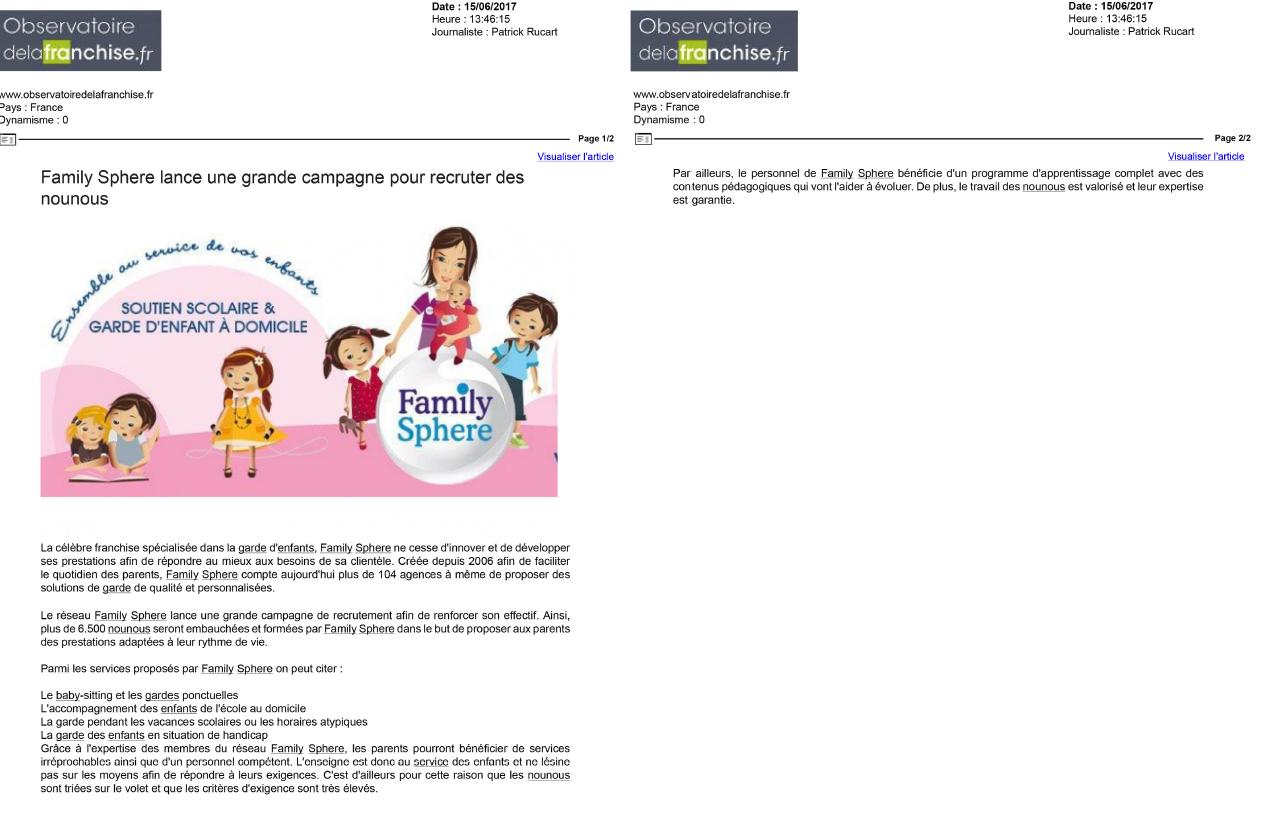Sujet : Family Sphere lance une grande campagne pour recruter des nounous