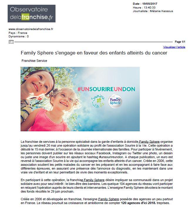 Sujet : Family Sphere s'engage en faveur des enfants atteints du cancer.