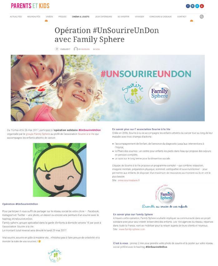 Sujet : Opération #UnSourireUnDon avec Family Sphere.