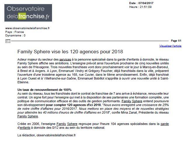 Sujet : Family Sphere vise les 120 agences pour 2018