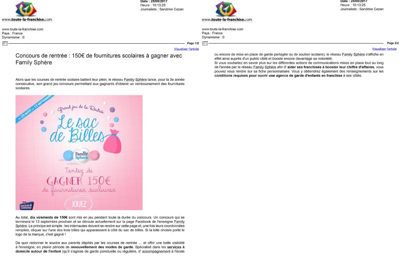Sujet : Concours de rentrée : 150 € de fournitures scolaires à […]