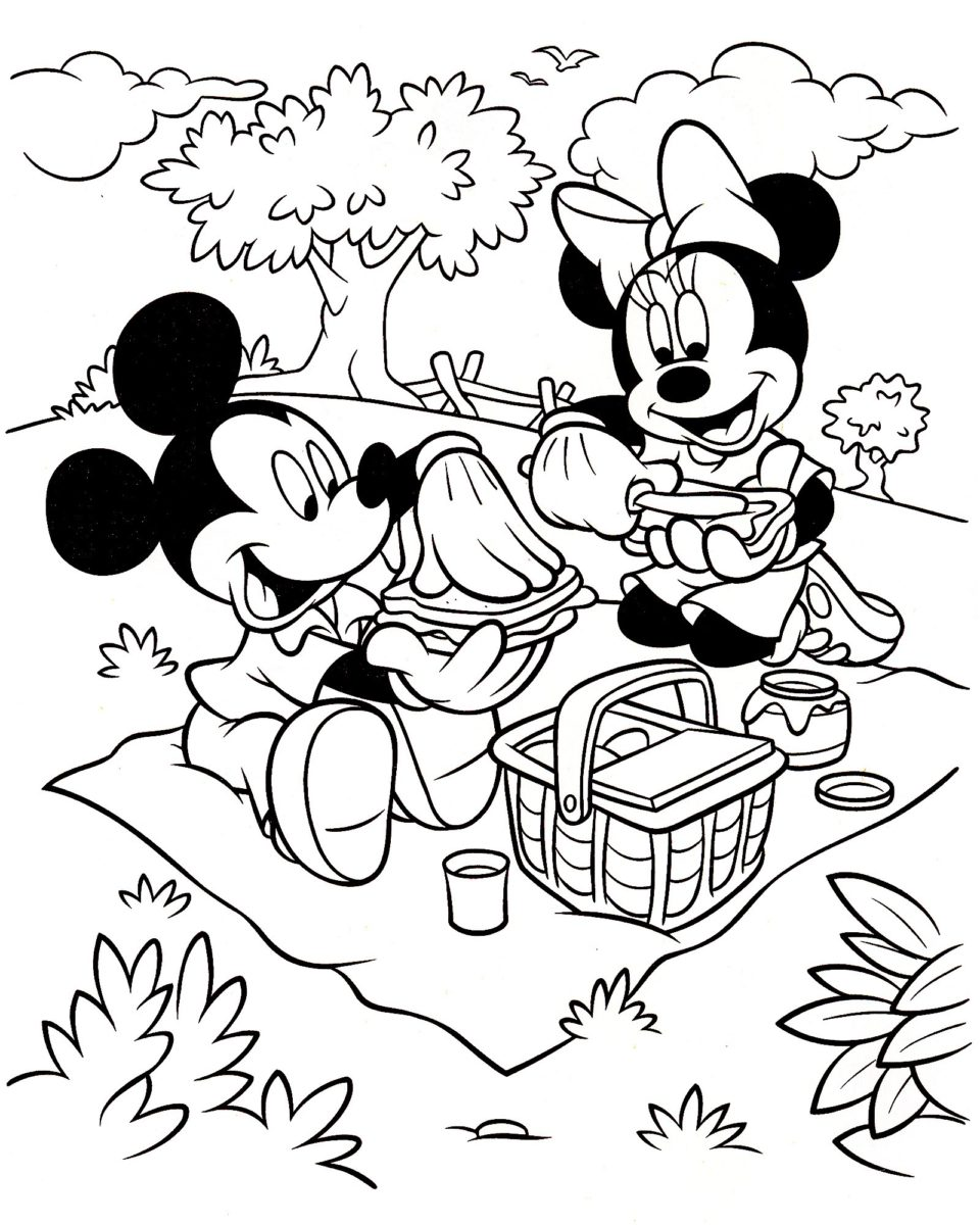 Coloriage A Imprimer Minnie.Coloriage Mickey Et Minnie A Imprimer Family Sphere