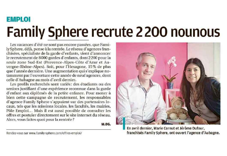 Family Sphere recrute 2200 nounous