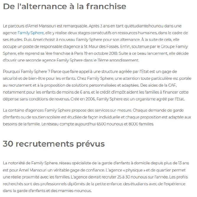 Family Sphere ouvre une agence a Paris 11 - texte
