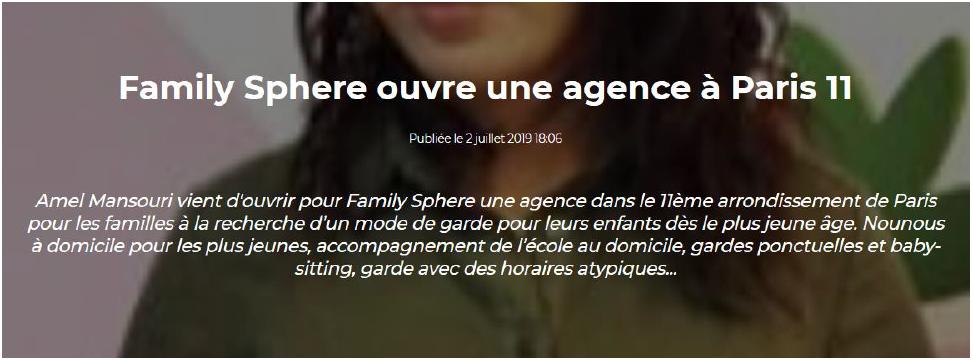 Family Sphere ouvre une agence a Paris 11 - visuel